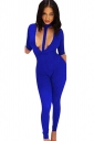 Womens Halter Plunging Neck Short Sleeve Plain Catsuit Sapphire Blue
