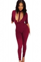 Womens Halter Plunging Neck Short Sleeve Plain Catsuit Ruby