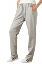 Womens Zipper Pockets Drawstring-waist Leisure Pants Gray