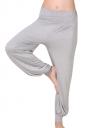 Womens Plain Elastic Waist Leisure Yoga Lantern Pants Gray