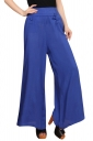 Womens High Waist Tunic Leisure Plain Palazzo Pants Blue