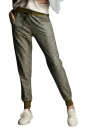 Womens Drawstring Waist Pockets Ankle-length Leisure Pants Army Green