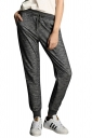 Womens Drawstring Waist Pockets Ankle-length Leisure Pants Dark Gray