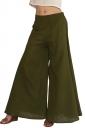 Womens Plain Palazzo Leisure Pants Army Green