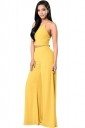 Womens Plain Sleeveless Backless Top&Palazzo Pants Suit Yellow