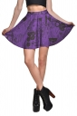 Womens High Waist Doodle Printed Pleated Skirt Purple