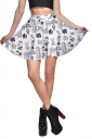Womens High Waist Doodle Printed Pleated Skirt White