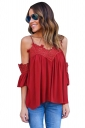 Womens Cold Shoulder Lace Patchwork Camisole Blouse Red