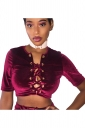 Womens Cross Lace-up Short Sleeve Plain Crop Top Ruby