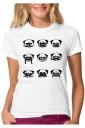 Womens Funny Dog Emoji Printed Short Sleeve T Shirt Black