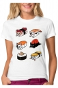 Womens Funny Sushi Dog Printed Short Sleeve T Shirt Red