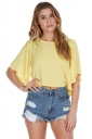 Womens Plain Crewneck Butterfly Sleeve Chiffon Blouse Yellow