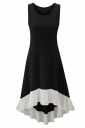 Womens Chiffon Hem Splicing High Low Sleeveless Skater Dress Black
