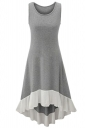 Womens Chiffon Hem Splicing High Low Sleeveless Skater Dress Gray