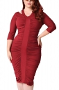 Womens Plus Size Waisted Pleated Half Sleeve Midi Dress Ruby