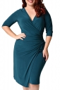 Womens Deep V-neck Plus Size Lacing Half Sleeve Midi Dress Turquoise