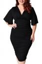 Womens Plus Size Deep V-neck Pleated Ruffle Sleeve Dress Black