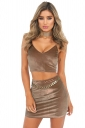 Womens V Neck Zipper Back Camisole Top&Mini Skirt Suit Brown