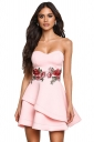 Womens Sexy Flower Embroidery Strapless Pleated Skater Dress Pink