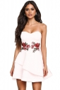 Womens Sexy Flower Embroidery Strapless Pleated Skater Dress White