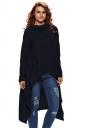 Womens Drawstring Irregular High Low Long Sleeve Hoodie Navy Blue