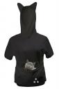 Womens Large Pocket Cat Printed Short Sleeve Hoodie Black