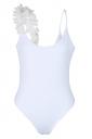 Womens One Side Flower Trim Plain Backless Bodysuit White