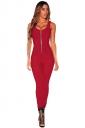 Womens Zipper Front Sleeveless High Waist Plain Catsuit Ruby