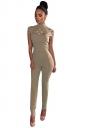 Womens Mock Neck Cut Out Short Sleeve High Waist Jumpsuit Apricot
