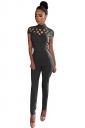 Womens Mock Neck Cut Out Short Sleeve High Waist Jumpsuit Gray