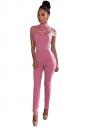 Womens Mock Neck Cut Out Short Sleeve High Waist Jumpsuit Pink