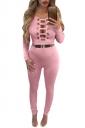 Womens Keyhole Cutout Long Sleeve High Waist Plain Jumpsuit Pink