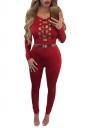 Womens Keyhole Cutout Long Sleeve High Waist Plain Jumpsuit Red