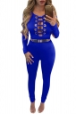 Womens Keyhole Cutout Long Sleeve High Waist Jumpsuit Sapphire Blue
