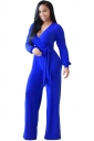 Womens V Neck Lace-up High Waist Palazzo Jumpsuit Sapphire Blue