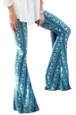 Womens Exotic Printed Bell Bottom Leisure Pants Turquoise