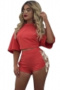 Womens Crewneck Lace Up Crop Top&High Waist Shorts Suit Red