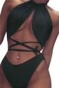 Womens Sexy Swimwear Bandage Top&High Waisted Swimsuit Bottom Black