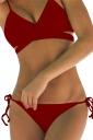 Womens Sexy Bikini Push Up Halter Top&String Swimsuit Bottom Ruby