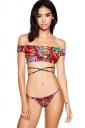 Womens Off Shoulder Floral Bikini Top&String Swimsuit Bottom Red