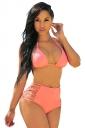 Womens Triangle Halter High Waist Cutout 2PCS Bikini Set Pink