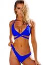 Womens Halter Lace-up Low Rise Knitting Bikini Set Sapphire Blue