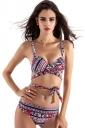 Womens Cross Lace Up Color Block Printed 2PCS Bikini Set Red