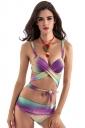 Womens Cross Lace Up Color Block Printed 2PCS Bikini Set Purple