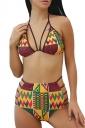 Womens Geometric Printed High Waist Strappy 2PCS Bikini Set Orange