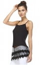 Womens Plain Lace Trim Patchwork Camisole Top Black