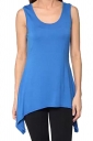 Womens Round Neck Asymmetric Hem Plain Tank Top Blue