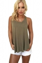 Womens Round Neck Plain Cut Out Back Tank Top Green