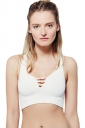 Womens Plain Cut Out Sleeveless Crop Top White