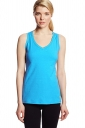 Womens V Neck Sleeveless Solid Color Tank Top Blue